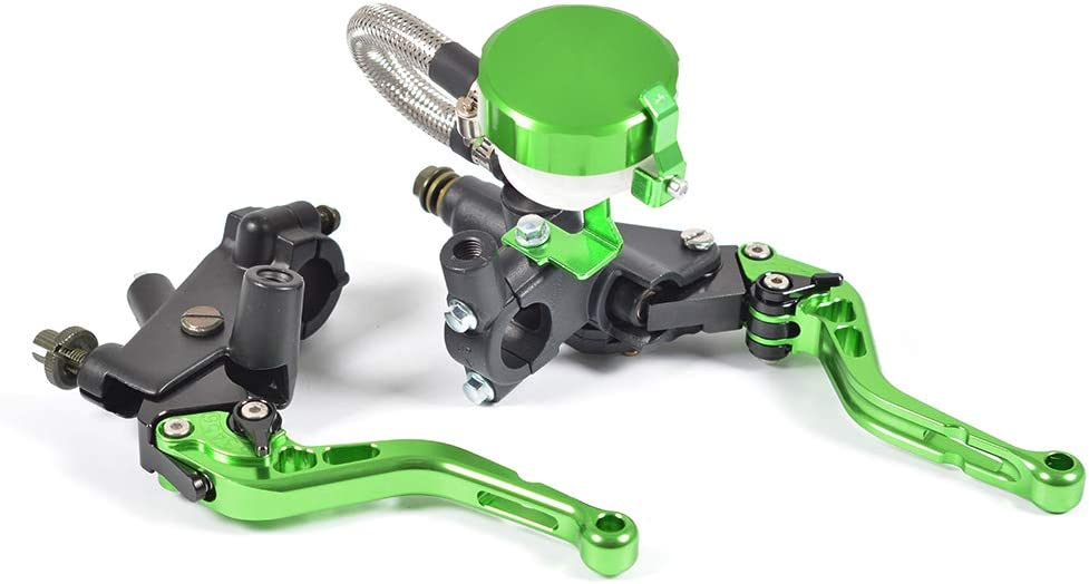 WildBee Universal 7//8 22MM Pompe Simple Argent Aluminum Moto Ma/ître Cylindre de Frein Set