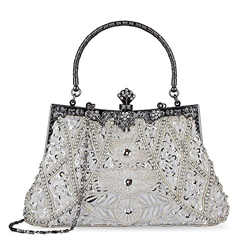 Fashion Vintage Style Handbag Beaded Sequined Evening Bag Wedding Party Handbag Rhinestone Clutch Purse (Silver)