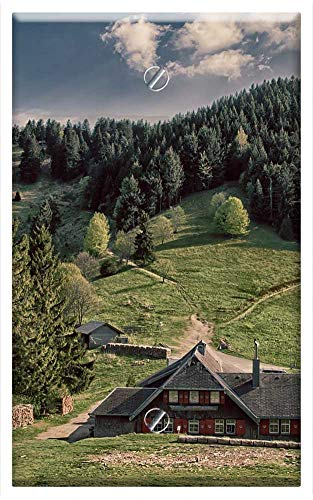 Single-Gang Blank Wall Plate Cover - Alm Black Forest Abendstimmung Mountains Hut Trees