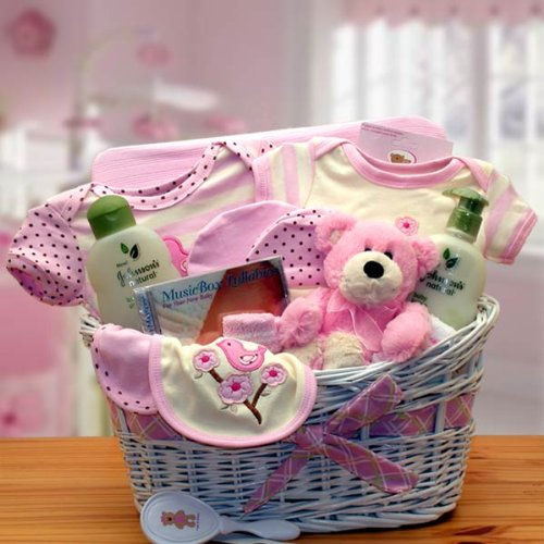 Gift Basket Drop Shipping Deluxe Organic New Baby Gift Basket -, Pink by Baby Basket