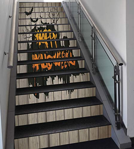 Stair Stickers Wall Stickers,13 PCS Self-adhesive,Halloween Decorations,Happy Graffiti Style Lettering on Rustic Wooden Fence Scary Evil Artwork,Multi,Stair Riser Decal for Living Room, Hall, Kids -
