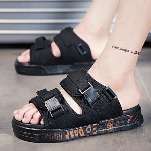 Aihuwai Sandaler Mænd Sandaler Sommer Slippers Mænd Sandaler Skridsikre Sandaler Ord Sandaler Og Hjemmesko Afslappet Sandaler Mænds Sko Sorte Guld jKR7oS0