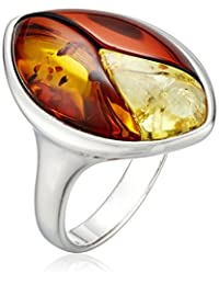 Rhodium-Plated Sterling Silver and Multicolor Amber Inlay Ring, Size 7