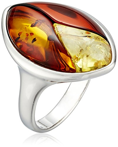 Rhodium Plated Sterling Silver Multicolor Amber Inlay Ring, Size 7