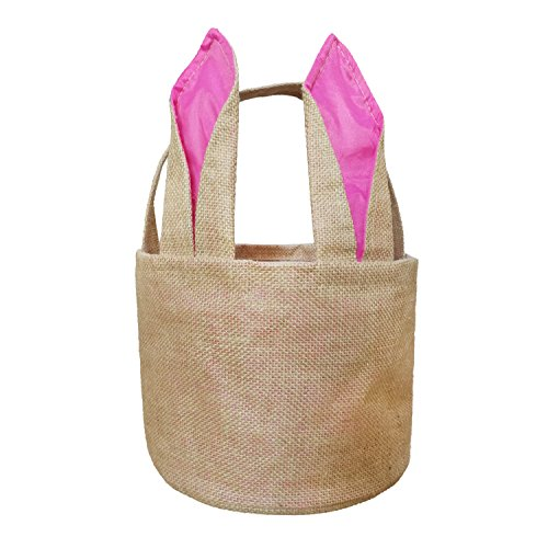 Easter Bunny Basket Egg Baskets for Kids with Cross-Stitch Line Burlap Gift Bag Round Tote Jute Bags for Embroidery DIY Daily Use (Pink) FH03PK ()