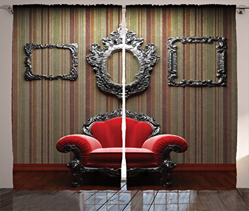 Ambesonne Antique Decor Collection, Wall and Chair Vintage Picture Frame Vertical Striped Background Timber Floor Image, Living Room Bedroom Curtain 2 Panels Set, 108 X 84 Inches, Red Silver Grey
