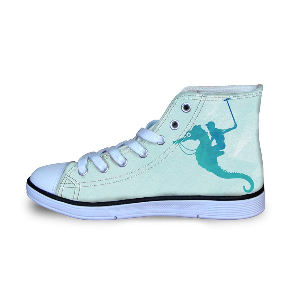 Canvas High Top Sneaker Casual Skate Shoe Boys Girls Sea Horse Knight Water Polo Player