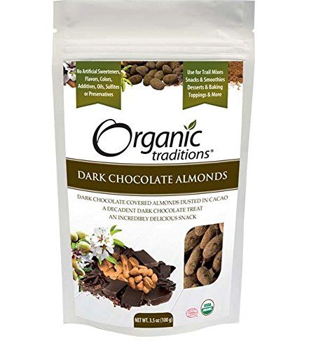 Organic Traditions Dark Chocolate Almond 8 oz For Sale