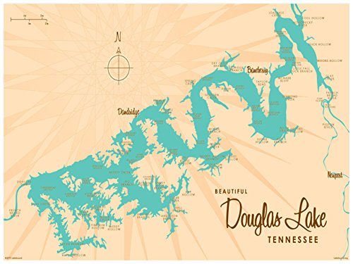 Douglas Lake Tennessee Map Vintage-Style Art Print by Lakebound (18