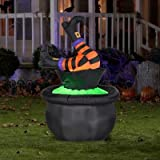 Halloween 5ft. Animated Inflatable Witch Legs in Cauldron