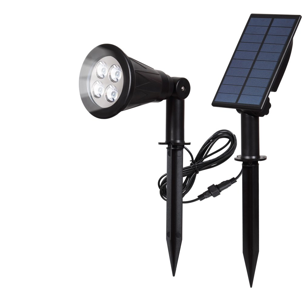 [1 PACK]T-SUN LED Solar Spotlights, Waterproof Outdoor Security Landscape Lamps, Auto-on/Auto-off By Day, 180 angle Adjustable for Tree, Patio, Yard, Garden, Driveway, Stairs, Pool Area by T-SUN