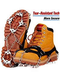 Upgraded Version 19 Spikes Traction Cleats Ice Snow Grips with Tear-Resistant Gasket Seamless Welded Steel Safe Protect,Crampons for Hiking Fishing Jogging Mountaineering Walking