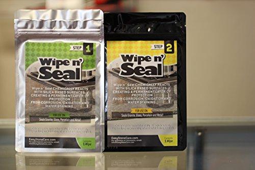 Wipe n Seal Premium 2 Part Professional or DIY Glass Sealer - Works On Granite, Porcelain & Metal - 2-Wipe Kit (Granite Sealing Wipes compare prices)