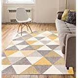 "Isometry Gold & Grey Modern Geometric Triangle Pattern 3'3"" x 5 Area Rug Soft Shed Free Easy to Clean Stain Resistant"