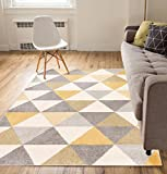 Well Woven Isometry Gold & Grey Modern Geometric Triangle Pattern 5' x 7'...