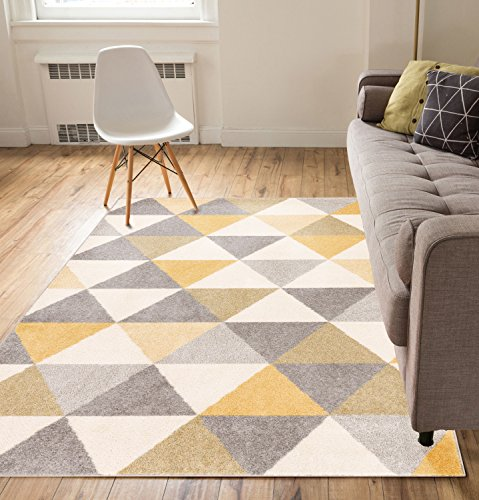 Isometry Gold & Grey Modern Geometric Triangle Pattern 5' x 7' Area Rug Soft Shed Free Easy to Clean Stain Resistant (Yellow And Grey Area Rug)
