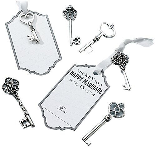 Lillian Rose Guest Book Alternative Silver Key Tag Favors Antique Silver Card Case