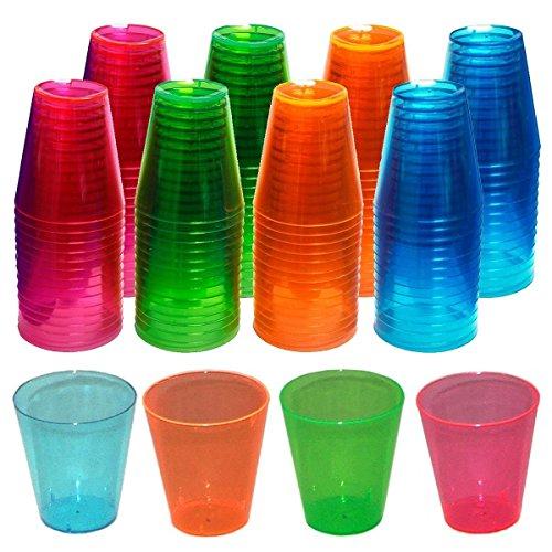 144 Count Evri Shot Glasses Cups Parties Shooters 2Oz Hard Plastic Set Neon Colors