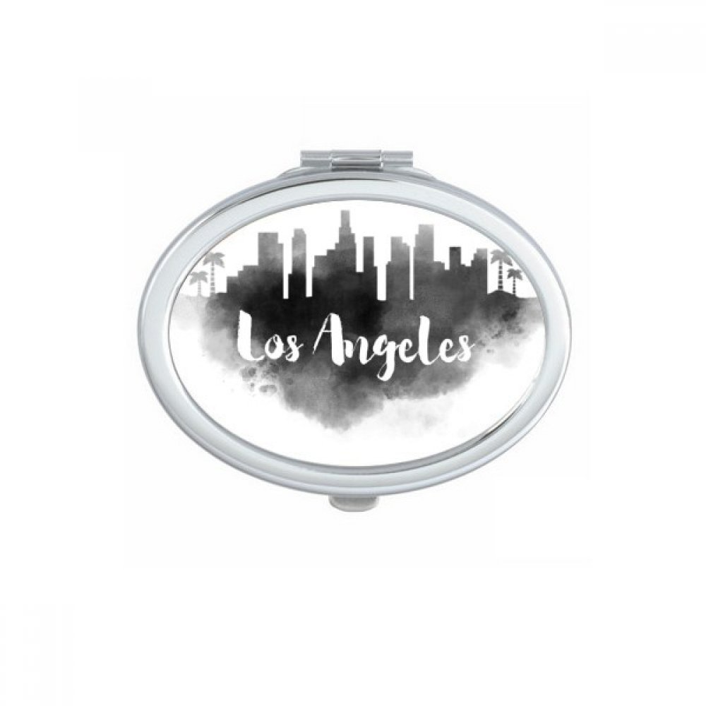 Los Angeles America Ink City Oval Compact Makeup Pocket Mirror Portable Cute Small Hand Mirrors Gift