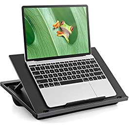 LORYERGO Laptop Lap Desk – Adjustable Laptop Stand with 8 Angles & Dual Cushions, Lap Table Fits up to 15.6 Inch Laptops…