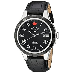 GV2 by Gevril Men's 9503 Scacchi Stainless Steel Automatic Watch with Black Leather Band
