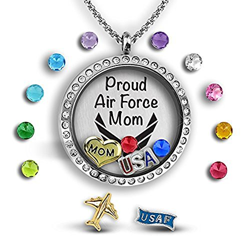 A Touch of Dazzle Air Force Mom Jewelry Military Mom Pendant Necklace 30mm Floating Locket Charm Necklace