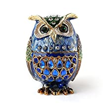 Barn Owl Figurine Keepsake Box Crystals Hinged Trinket Pill Box