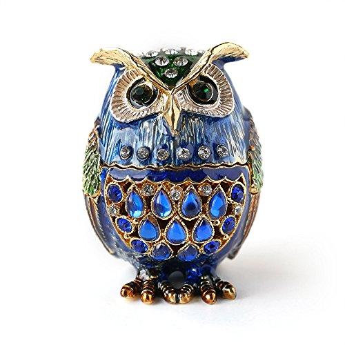 Barn Owl Figurine Keepsake Box Crystals Hinged Trinket Pill Box (Enamel Pewter)