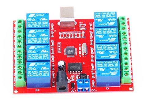KNACRO SRD-05VDC-SL-C 8-way 5V Relay Module Free driver USB control switch PC intelligent control (5V 8-Channel) by KNACRO (Image #1)