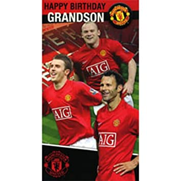 Manchester United Grandson Birthday Card Plus Badge Amazon
