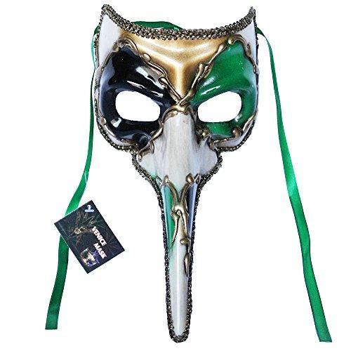 Venetian Long Nose Masquerade Mask Party Ball Prom Mardi Gras Halloween Costumes Wedding Wall Decoration (Green 11E4A)]()