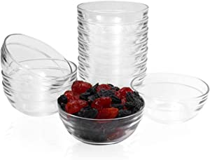 SZUAH Mini 3.5 Inch Glass Bowls Prep Bowls Serving Bowls Glass Clear Salad Bowl for Kitchen Prep, Dessert, Dips, Nut and Candy Dishes, Stackable and Dishwasher Safe, Set of 12