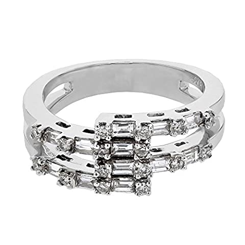 0.69CTW Ladies Baguette and Round Cut Diamond Prong set Diamond Ring in 18K White Gold (Kunzite Rings In White Gold)