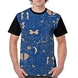 CKS DA WUQ Painting Animal Heaven Men's Raglan Short Sleeve Tops T-Shirt Casual Undershirts Baseball Tees
