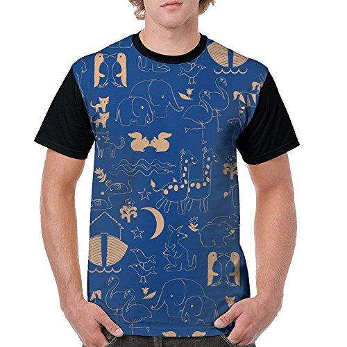 CKS DA WUQ Painting Animal Heaven Men's Raglan Short Sleeve Tops T-Shirt Casual Undershirts Baseball Tees by CKS DA WUQ