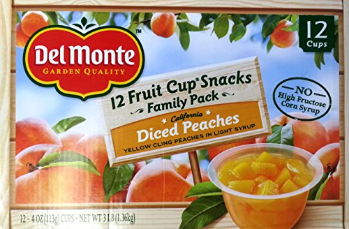 Del Monte Diced Peaches Fruit Cup Snacks, 4 oz, 12 count For Sale