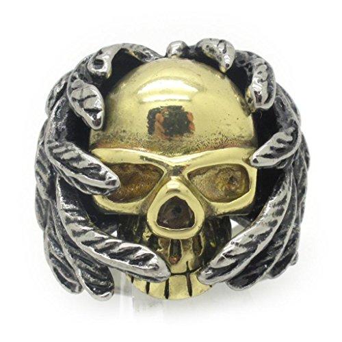 BoxDragon Jewelry Men's Stainless Steel Ring Wing Skull Vinatge Biker Gold Silver (Mens Skull Wings)