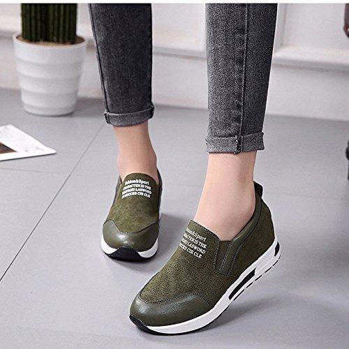 Hatop Femmes Bottes, Femmes Wedges Bottes Plate-forme Chaussures Glisser Sur La Cheville Bottes Mode Casual Chaussures Vert