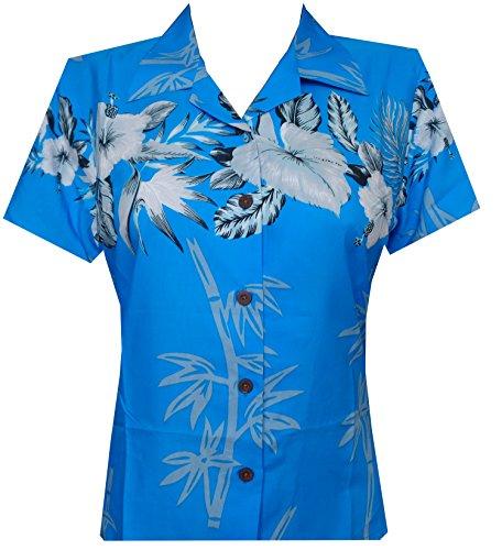 Hawaiian Shirt 35W Women Bamboo Tree Print Aloha Beach Top Blouse Sky Blue 2XL