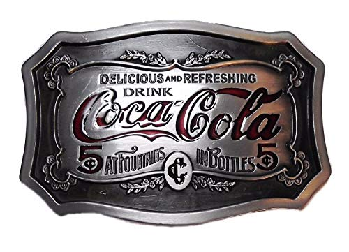 Classic Logo Belt Buckle - Coca Cola Red Enamel Logo Classic Look Pewter Finish Belt Buckle