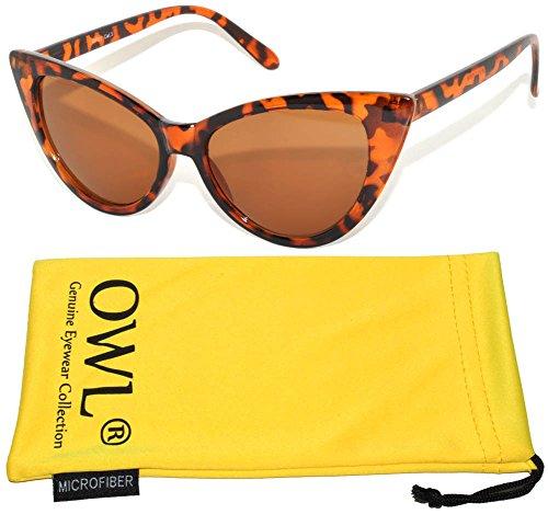 Ladies Vintage Cat Eye Brown Lens Sunglasses Leopard - Wholesale Sunglasses Cat Eye