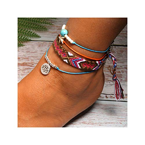 - Handmade Weave Bobo Lotus Anklet Set Fashion Starfish 4 Pieces Bohemian Chic Summer Bracelet Ankle for Women Gift,4