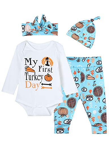 4PCS Baby Boys Girls My First Turkey Day Outfit Set Thanksgiving Long Sleeve Rompers (0-3 Months) ()