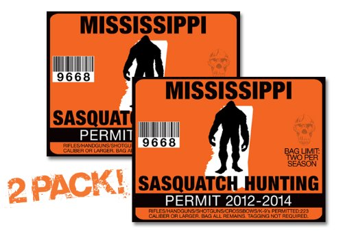 Mississppi-SASQUATCH HUNTING PERMIT LICENSE TAG DECAL TRUCK POLARIS RZR JEEP WRANGLER STICKER 2-PACK!-MS