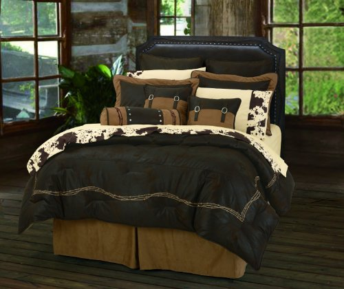HiEnd Accents Embroidered Barbwire Western Comforter Set, Queen, Chocolate (Ensemble Comforter Queen)
