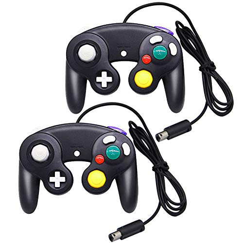 (MorTime Gamecube Controller,2 Pack Classic Wired Controllers Gamepad for Wii Gamecube,Compatible with Wii Nintendo Gamecube (Black))