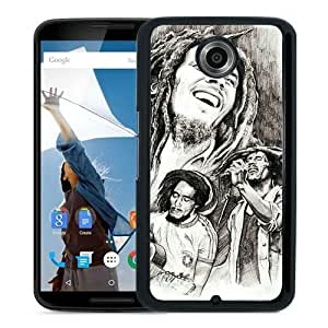 Lovely And Durable Custom Designed Case For Google Nexus 6 With arte bob marley Black Phone Case