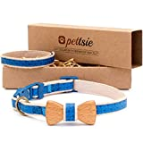 Pettsie Cat Collar Breakaway Safety with Bowtie and Friendship Bracelet for You, Durable 100% Cotton...