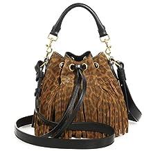 SAINT LAURENT 'YSL' Emmanuelle Fringed Sac Bucket Bag Leopard Suede Leather Shoulder Handbag Purse 372453