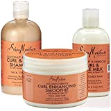 Shea Moisture Coconut and Hibiscus Combination Pack- Curl Enhancing Smoothie, 12 oz, Curl Style Milk, 8 oz & Curl & Shine Shampoo 13 oz